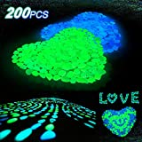 Averill Bay 200 Pcs Glow in the Dark Pebbles for Walkways and Decor in Bule & Green, Glowing Resin DIY Decorative Rocks for Driveway/Pathway/Flower Bed/Garden/Fish Tank/Aquarium/Landscape