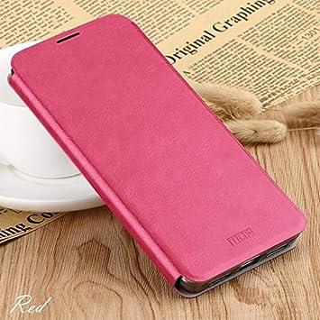 Cuero Mobile Phone Covers, la Carpeta del tirón de For Xiaomi MI 9 Pro, Caja De Cuero De Cuero del Tirón con El Soporte Integrado Planchas De Acero con Todo Incluido Funda magnética (Color : Rojo)