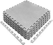 SK DEPOT Interlocking Puzzle Exercise Mat 24in*24in*0.5in, EVA Foam Cross Pattern Interlocking Tiles Floor Mat