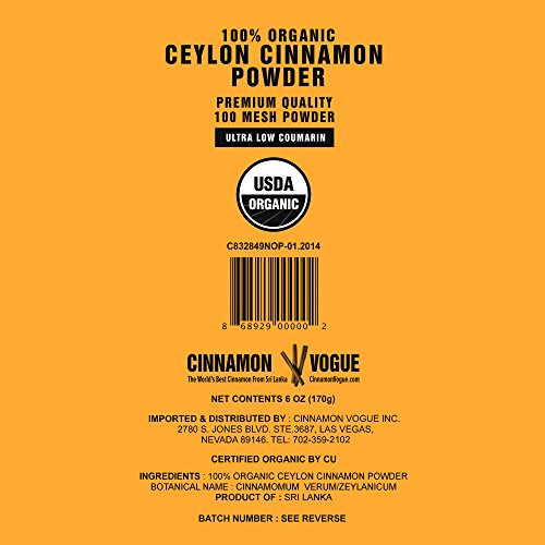 Ceylon Cinnamon Powder – 6 oz. (100% USDA Organic) - Ultra Premium Fine 100 Mesh Powder, Salt Free, Non irradiated, Low Coumarin by Cinnamon Vogue (Image #6)'
