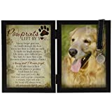 The Grandparent Gift Paw Prints Pet Memorial Frame W/Tag Holder, Black, Beige