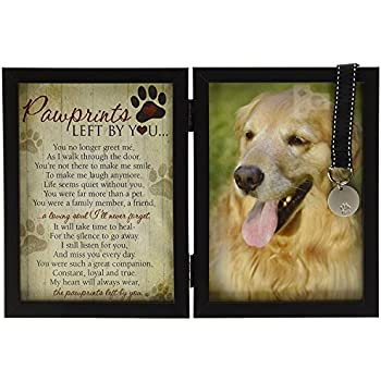 pawprints memorial pet tag frame pawprints left by you - Dog Memorial Frame