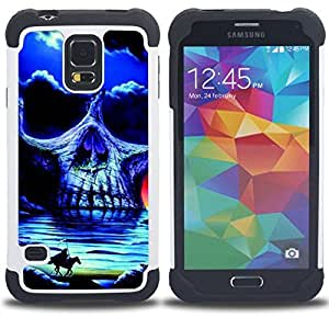 BullDog Case - FOR/Samsung Galaxy S5 I9600 G9009 G9008V / - / HEADLESS HORSEMAN SKULL NIGHT HORSE /- H??brido Heavy Duty caja del tel??fono protector din??mico - silicona suave