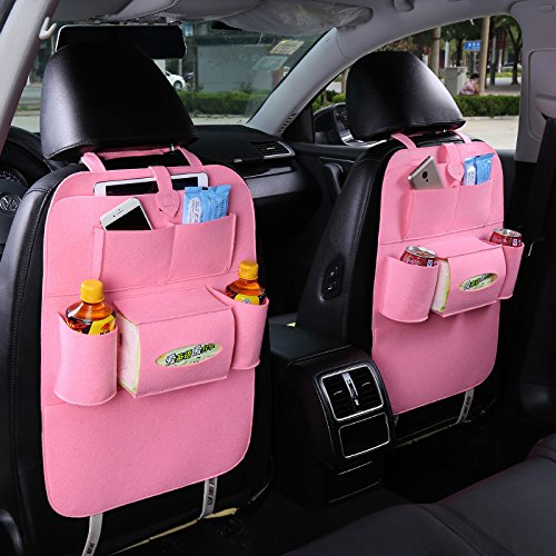 SaiDeng Car Back Seat Storage Bag Multifunctional Backrest Pockets Protector Organizer Auto Accessories - Pink
