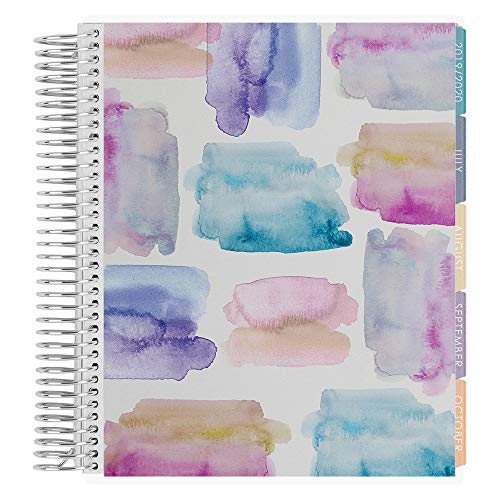 Erin Condren 18-Month 2019-2020 Coiled Life Planner 7x9 (July 2019-December 2020) - Watercolor Crystals, Vertical (Colorful Layout)