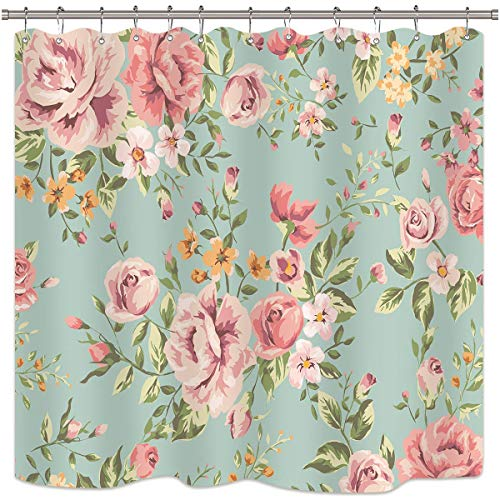 Riyidecor Pink Flower Shower Curtain Floral Blooming Girly Green Leaves Rustic Colourful Retro Woman Rose Waterproof Fabric Bathroom Home Decor 12 Pack Shower Plastic Hooks 72x72 Inch (Turquoise And Pink Shower Curtain)