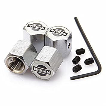 Kartek /® Nismo Black Anti theft Metal Chrome Tyre Valve Dust Cap