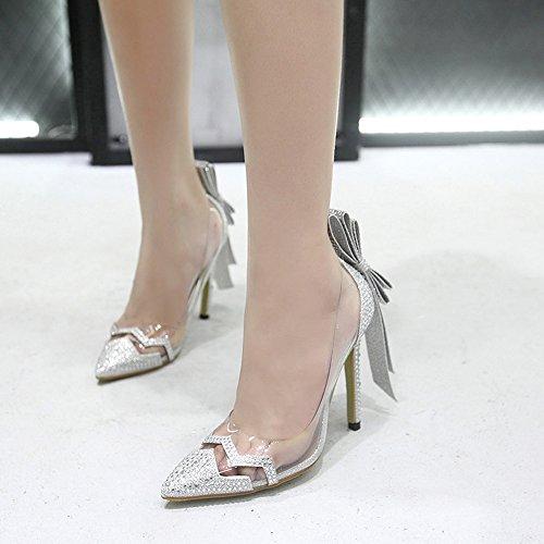 Strass Sandalen Women Stiletto Heels Silver Brautschuhe Heel Hochzeit High 5 11 Pumps Es Brautjungfer Schuhe Schuhe Braut Mund Hohe Cm Heels Flachen Spitze Sexy SS4nrZq