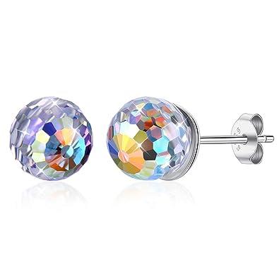 Qiyami Aretes Acero Inoxidable Cristales Earrings Redondo ...