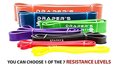 Heavy Duty Pull Up Assist and Powerlifting Stretch Bands By Draper's Strength - Add Resistance For Stretching, Exercise, and Assisted Pull Ups. Free E-workout Guide (Single Band or Set) 41-inch