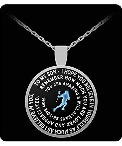 Lacrosse Necklace - Silver Chain Pendant – To My Son - Gift From Mom - Inspirational Charm