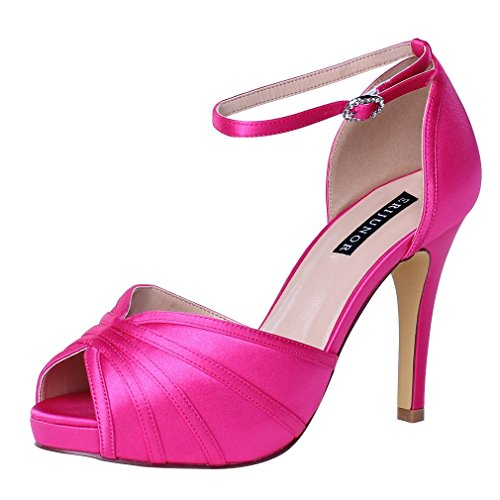 ERIJUNOR E1773 Womens High Heel Ankle Strap Satin Evening Prom Bridal Wedding Shoes Hot Pink Size 8