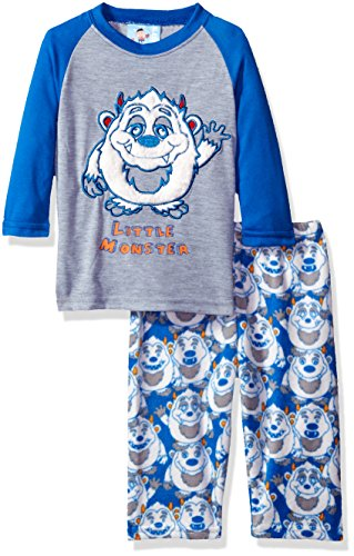 Bunz Kidz Little Boys' Toddler Little Monster 2 Piece Pajama Set, Blue, 2T - Kid 2 Piece Pjs