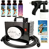 Cheap Salon Pro T200-12, 2 Stage Turbine Sunless HVLP Spray Tanning System; Simple Tan 4 Solution Variety Pack & Video Link