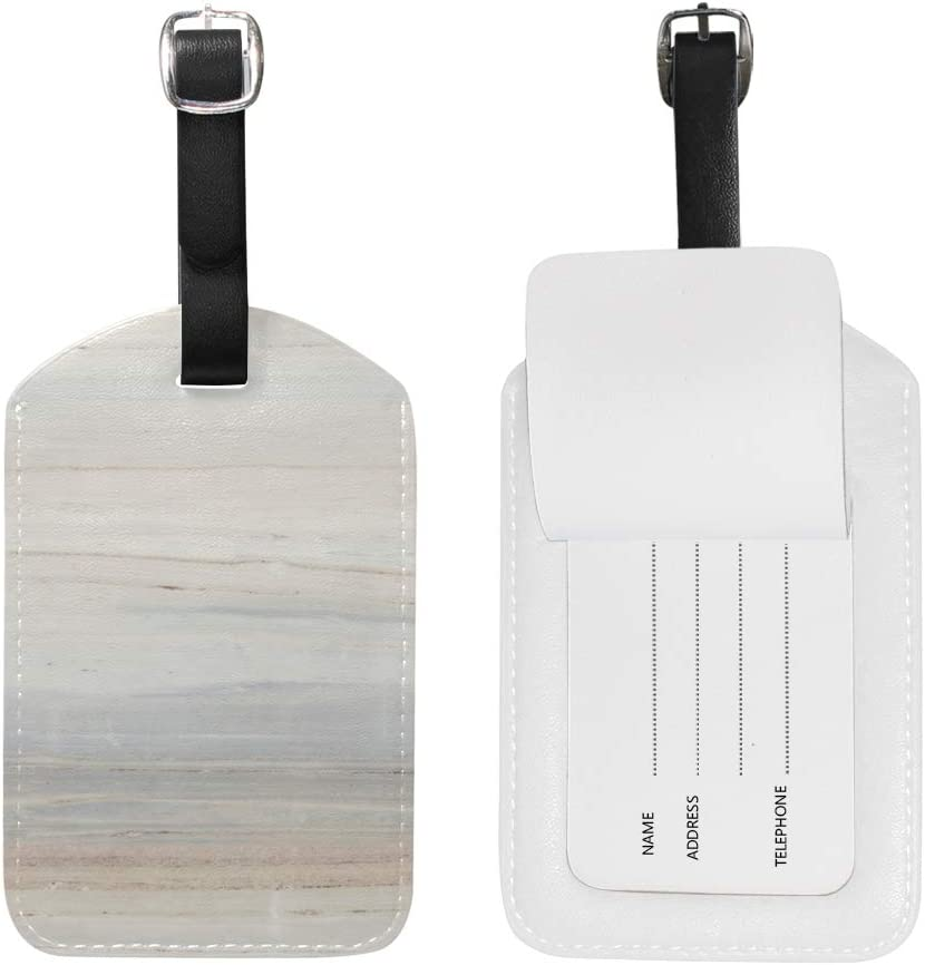 Aibileen White Marble Luggage Tag Travel ID Label Leather for Baggage Suitcase 1 Piece