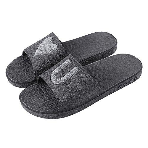 Eizur Lovers Summer Non-slip Shower Slippers Unisex Flat Bathroom Home Slippers Pool Shoes Soft Foams Sole Open Toe Slip-on Beach Sandals for Men Women Black