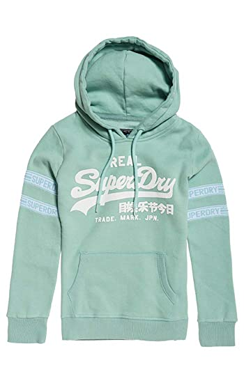 43c01a94ded419 Superdry Damen Pullover V Logo Tape Entry Hood: Amazon.de: Bekleidung