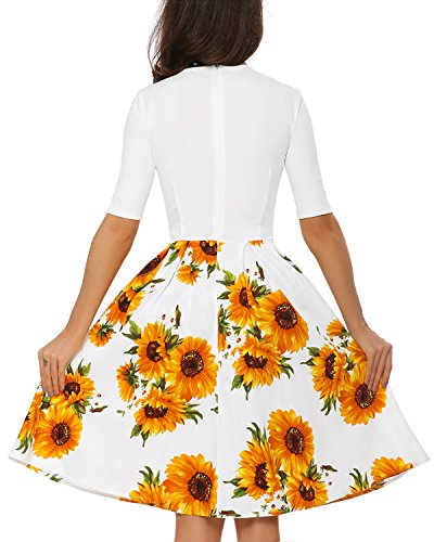 Dress Swing Floral Short Mixfeer Casual Pockets Dress with Work Midi Sleeve Women's Neck Scoop Vintage White Party Cocktail gxIxSHwtOq