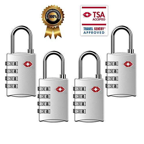 TSA Luggage Locks,TSA Approved Travel Combination Luggage Locks for Suitcases-4 Pack (Silver) by Cluckyu