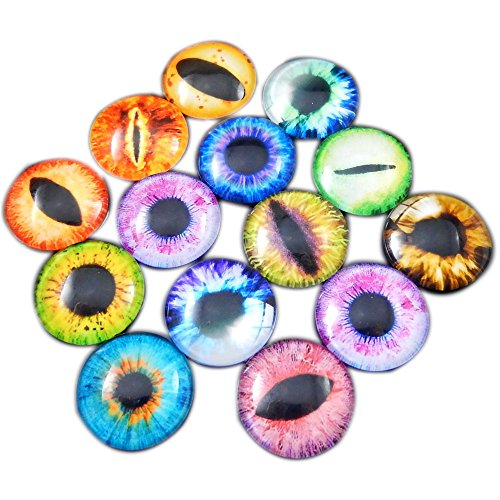 12MM 60PCS Wholesale in Bulk Assorted Round Glass Dragon Eye Covered Cabochons For Doll Making and Jewelry Settings