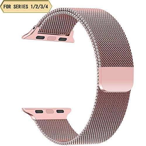 TNSO Compatible with Apple Watch Band 38mm 40mm 42mm 44mm,Stainless Steel Mesh Milanese Sport Wristband Loop with Adjustable Magnet Clasp for iWatch Series 1/2/3/4-Rose Gold