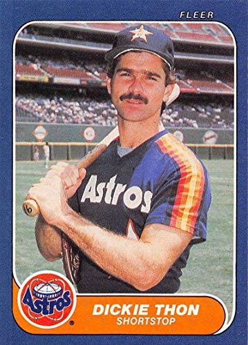 1986 Fleer Baseball #313 Dickie Thon Houston Astros Official MLB Trading Card