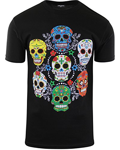 ShirtBANC Original Mexican American Inspired Mens Shirts (Sugar Skull Colors, XL)