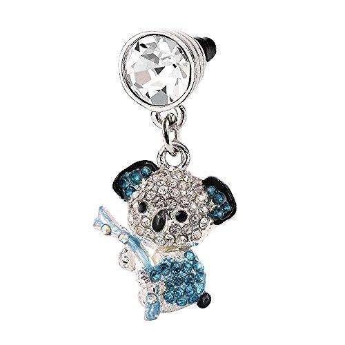 Blue Crystal Koala Phone Charm Anti Dust Plug in Monnel Velvet Bag MP502