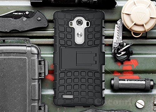 LG G3 Case, Cocomii Grenade Armor NEW [Heavy Duty] Premium Tactical Grip Kickstand Shockproof Bumper [Military Defender] Full Body Dual Layer Rugged Cover D850 D851 D852 D855 VS985 LS990 US990 (Black)