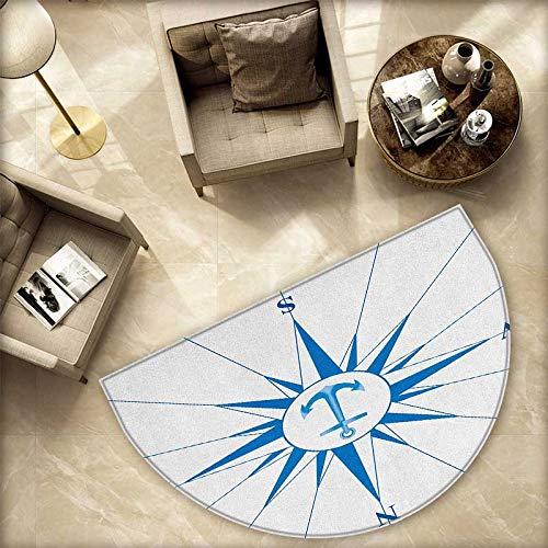 コンパス半円ドアマット レトロコンパスパターン 古代パスファインディングウィンドローズデザイン 探検指示 ハーフムーンドアマット 高さ55.1インチ x H 70.8