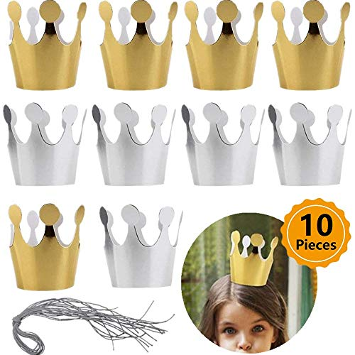 10 Pack Gold Silver Crown Hat for Kids