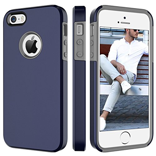 BENTOBEN Phone Case for Apple iPhone SE, iPhone 5S, iPhone 5, Dual Layer 2 in 1 Soft Hybrid TPU Bumper Hard PC Phone Protective Cover, Shockproof Heavy Duty Slim Phone Cover – Navy Blue
