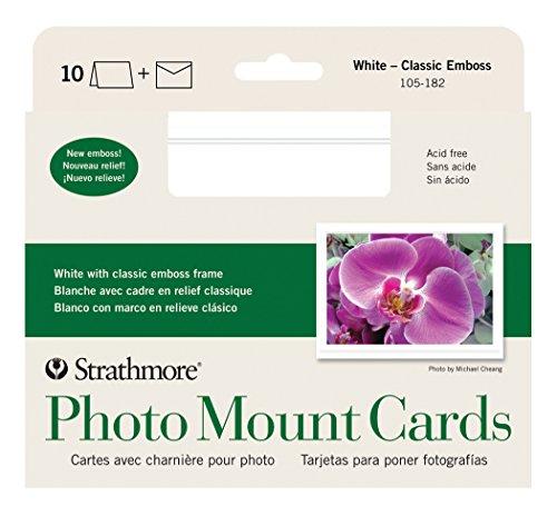 Strathmore ((105-182-1 STR-105-182 White Photo Mount Cards Classic Emboss (10 Pack), 10 Cards & Envelopes, 10 Cards & Envelopes
