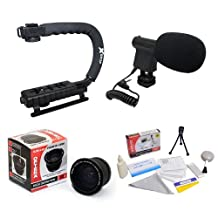 Extreme Shooters Kit Featuring Opteka HD 0.35x Wide Angle Panoramic Macro Fisheye Lens, Opteka X-GRIP Professional Camera Handle, Opteka VM-8 Mini-Shotgun Microphone and More for Canon EOS 60D, 50D, 40D, 30D, 20D, 7D, 6D, 5D, 1D, Rebel T4i, T3i, T3, T2i, T1i, XS, XSi, XTi & XT DSLR Cameras