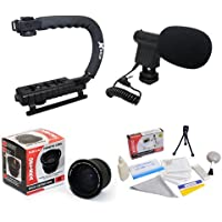 Extreme Shooters Kit Featuring Opteka HD 0.35x Wide Angle Panoramic Macro Fisheye Lens, Opteka X-GRIP Professional Camera Handle, Opteka VM-8 Mini-Shotgun Microphone and More for Nikon D4, D3X, D3, D800, D700, D300S, D300, D90, D60, D40, D7000, D5200, D5100, D5000, D3200, D3100 and D3000 Digital SLR Cameras