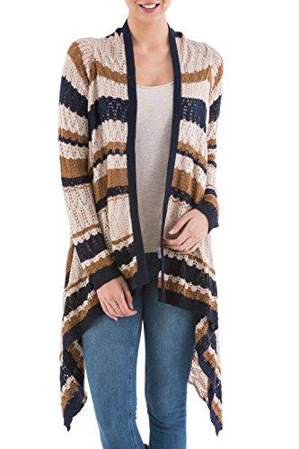 NOVICA Beige Alpaca Wool Blend Striped Cardigan Sweater, Evening Mirage'