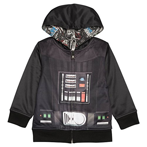 Hooded Reversible Sweater - Star Wars Little Boys Toddler Darth Vader Reversible Hoodie (4T)