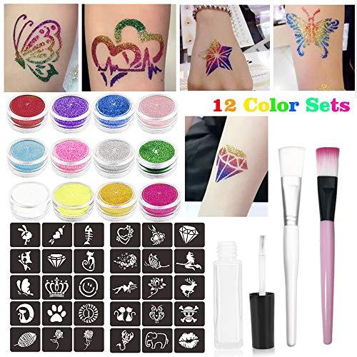 Glitter Tattoo Set Powder Temporary Tattoo Kit with 12 Glitter Colors,32 Beauty Tattoo Stencils,1 Glitter Glue, 2 Brushes,Glitter Temporary Tattoos Kit for Kids, Teenagers and Adults (Tattoo Glitter Stencil Kit)