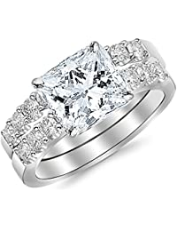 2.02 CTW Classic Prong Set Bridal Set With Wedding Band and Diamond Engagement Ring w/ 1.01 Ct GIA Certified Princess Cut G Color VVS1 Clarity Center