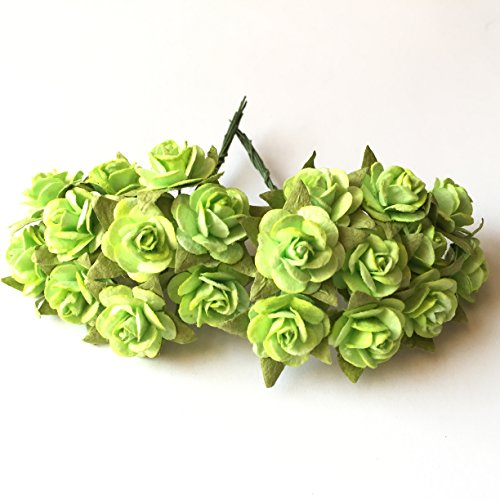 100 (Green Lemon) Mulberry Paper Mini Rose Artificial Flower Scrapbooking Bouquet Diy Craft Handmade in (Valentine's,Wedding etc.) Embellishment Floral Arranging 10mm.