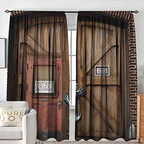 Petpany Family Decor Curtains Zombie,Monsters Behind Wooden Door Demon Halloween Holiday Fear Fantasy Picture,Umber Chestnut Brown,Blackout Draperies for Bedroom Living Room 120