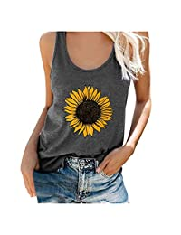 Adeliber Women's Short Sleeve, Women Plus Size Summer Sunflower Print Round Neck Sleeveless T-Shirt Top Tank