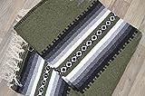 Mexican Blanket JUMBO Chief '' VERDE GRIS '' XXL 92x64 Handwoven Queen Throw Tribal Rug