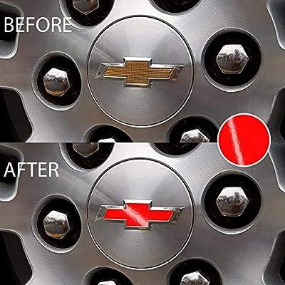 Bogar Tech Designs - Pre Cut Center Wheel Cap Vinyl Decal Sticker Compatible with Chevy Silverado 2020, Gloss Red: Automotive