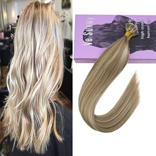 VeSunny 20inch Nano Tip Human Hair Extensions Color #16 Dark Ash Blonde Mixed #22 Golden Blonde Micro Nano Hair Extensions 1g/s 50G/Pack