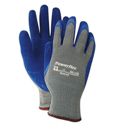 Ansell Cotton Gloves (Ansell 801009 PowerFlex 80-100 Knit Liner Gloves with Latex Coating, 10