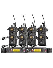 XTUGA RW2080 Rocket Audio Sistema de monitor de oído inalámbrico de metal, 2 canales, 8 Bodypack Monitoring con auriculares tipo inalámbrico utilizado para escenario o estudio