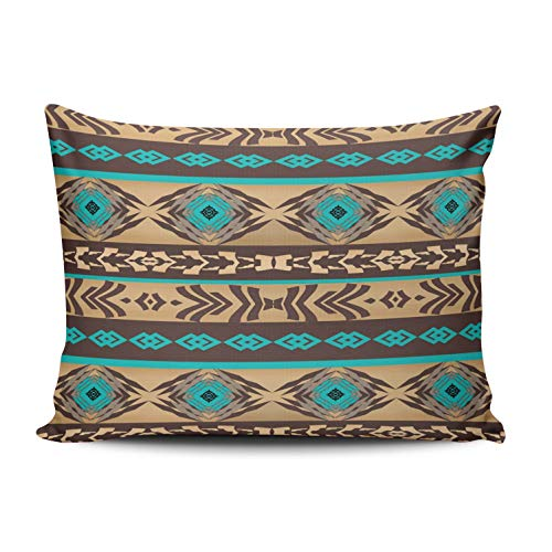WULIHUA Home Decoration Throw Pillow Covers Aqua Mint and Brown Southwestern Navajo Ethnic Tribal Pattern Standard Custom Sofa Cushion Cover Pillowcase Size 20X26 Inch One Sided Printed Chic Design