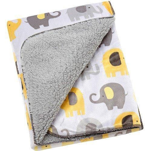 (Baby Boy or Girl Soft Yellow and Gray Unisex Velboa Elephant Blanket)
