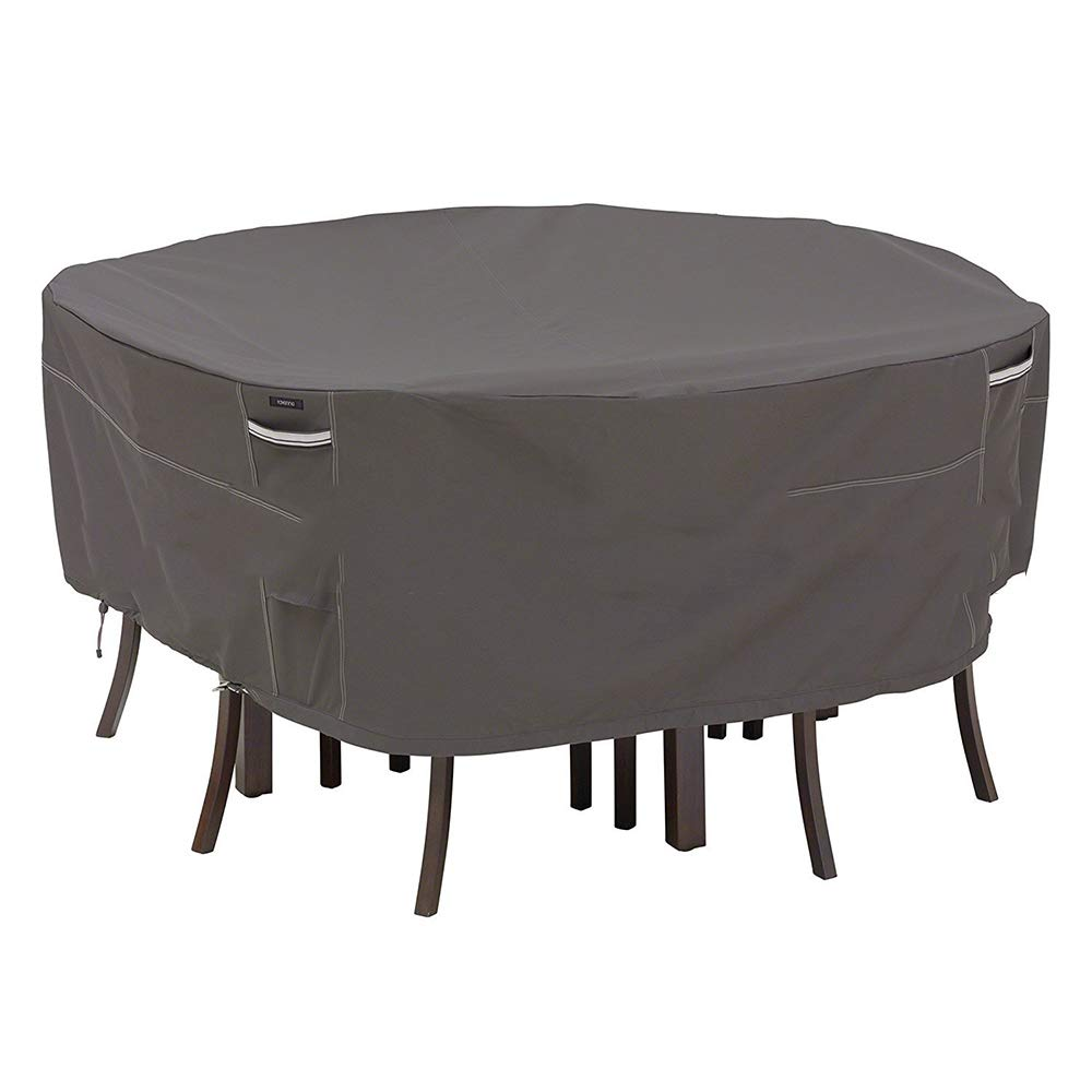 Patio Cover,Furniture Cover Protective Cover, Outdoor Round Furniture Dust Cover, Suitable for Garden Tables/Chairs Oxford Cloth Waterproof/UV Resistant,Gray,178 * 58cm